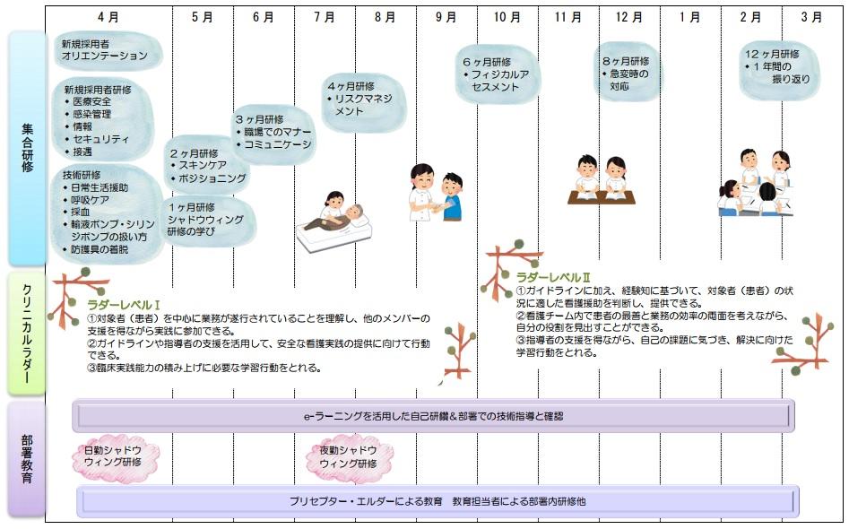 新人看護職員研修プログラムのスケジュール画像