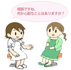 看護師から健診を受ける妊婦のイラスト