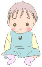 赤ちゃんがしゃがみこむイラスト