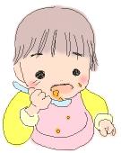 赤ちゃんが食べ散らかすイラスト
