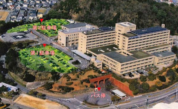 病院鳥瞰写真による第1、第2駐車場エリアのご案内画像