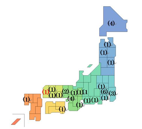 卵巣組織凍結認可実施施設の日本マップ